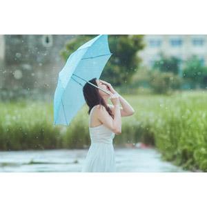 フリー写真, 人物, 女性, アジア人女性, ベトナム人, 雨, 女性(00067), 人と風景, 傘, 顔を覆う, 笑う(笑顔)