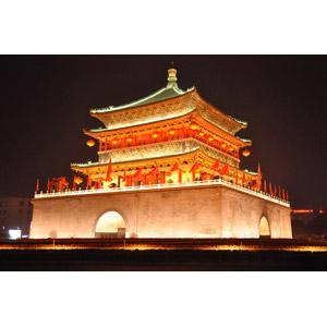 フリー写真, 風景, 建造物, 建築物, 鐘楼, 夜景, 夜, 中国の風景, 西安鐘楼