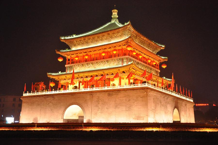 フリー写真 西安鐘楼の夜景