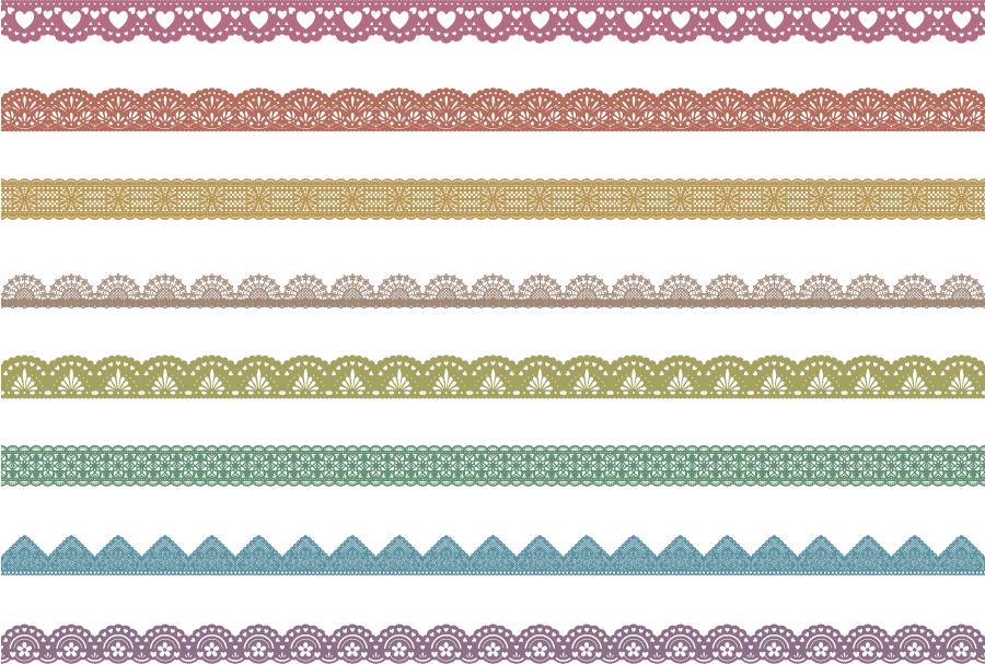 フリーイラスト 8種類のレース編みの飾り罫線のセット