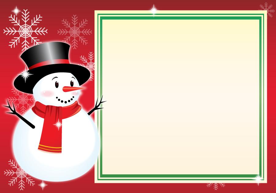 フリーイラスト 雪だるまと雪の結晶とメッセージーカード