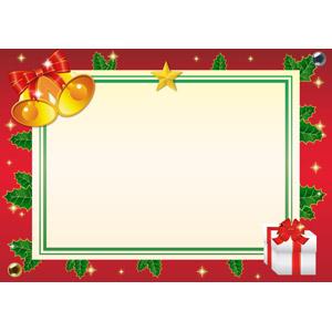 フリーイラスト, ベクター画像, AI, 背景, フレーム, 囲みフレーム, 年中行事, クリスマス, 12月, 冬, クリスマスベル, クリスマスプレゼント, セイヨウヒイラギ