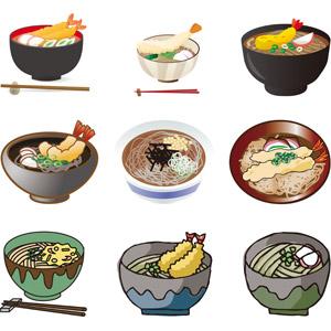 フリーイラスト, ベクター画像, AI, 食べ物(食料), 料理, 麺類, 蕎麦(ソバ), 日本料理, 和食, 年越しそば, 12月, 年中行事, 大晦日