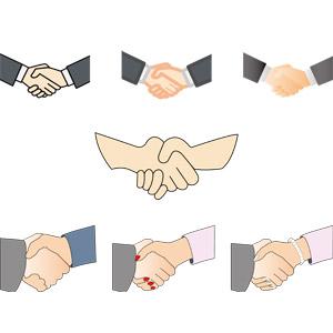 フリーイラスト, ベクター画像, AI, 人体, 手, 握手, 挨拶, ビジネス, 同意, 商談, 契約