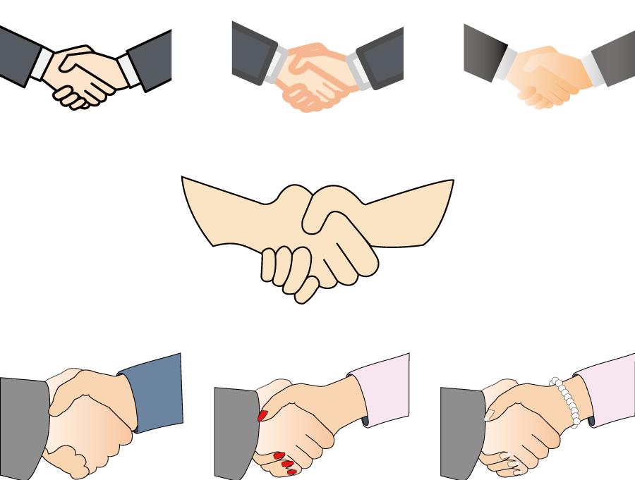 フリーイラスト 7種類の握手をする手のセット