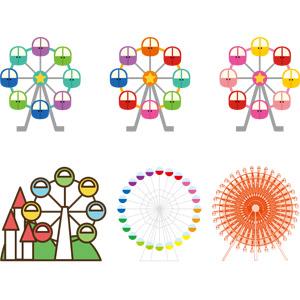 フリーイラスト, ベクター画像, AI, 遊園地(テーマパーク), 遊具, 観覧車, レジャー