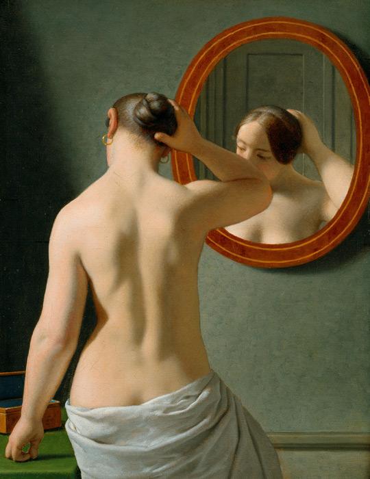 フリー絵画 エッケルスベール作「鏡の前の女性」