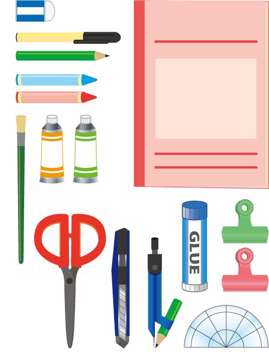 フリーイラスト 13種類の文房具と画材のセット