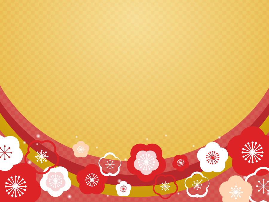 フリーイラスト 梅の花のお正月の背景
