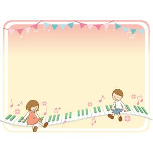 フリーイラスト, ベクター画像, AI, 背景, 音楽, 鍵盤楽器, 鍵盤, 子供, 男の子, 女の子, 音符, フラッグガーランド