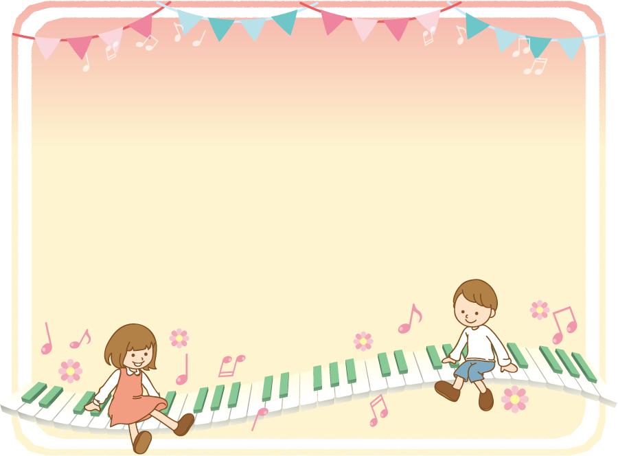 フリーイラスト 鍵盤の上に座っている子供の音楽背景