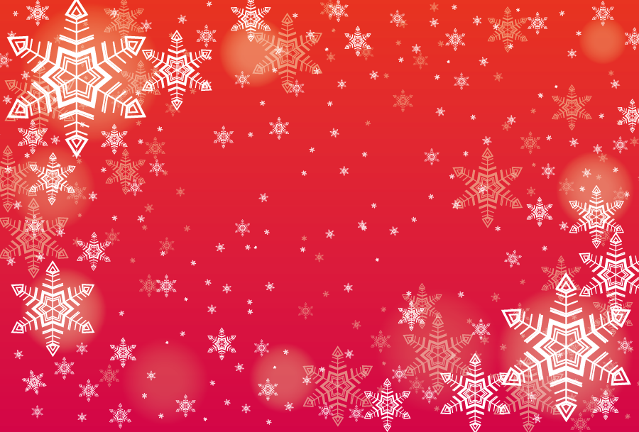 フリーイラスト 雪の結晶と赤色の背景