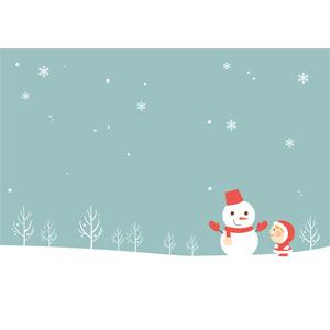 フリーイラスト, ベクター画像, EPS, 背景, 冬, 雪, 雪だるま, 子供, 女の子, サンタの衣装
