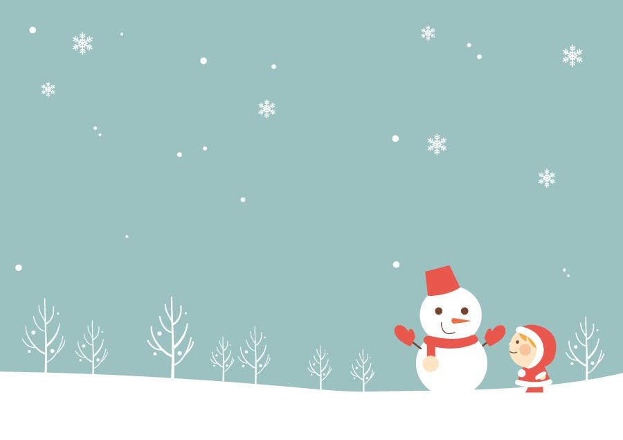 フリーイラスト 雪の日の女の子と雪だるま