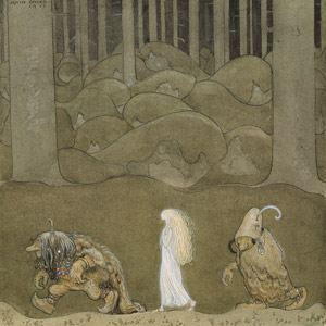フリー絵画, ヨン・バウエル, 物語画, 妖精(フェアリー), トロル(トロール), 森林, 神話・伝説の生物