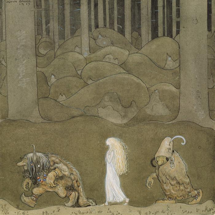 フリー絵画 ヨン・バウエル作「妖精姫とトロル」