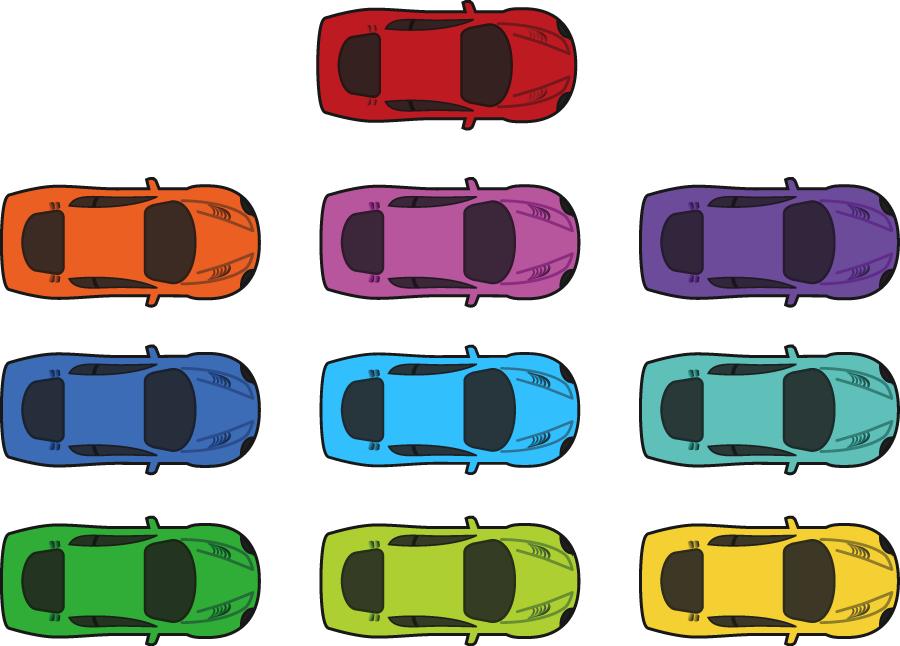 フリーイラスト 10種類の上から見たスポーツカーのセット