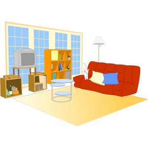 フリーイラスト, ベクター画像, EPS, 部屋, リビングルーム, ソファー, 本棚, 猫(ネコ), 白猫, 子猫, フロアスタンド