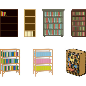 フリーイラスト, ベクター画像, AI, 家具, 本棚, 本(書籍)