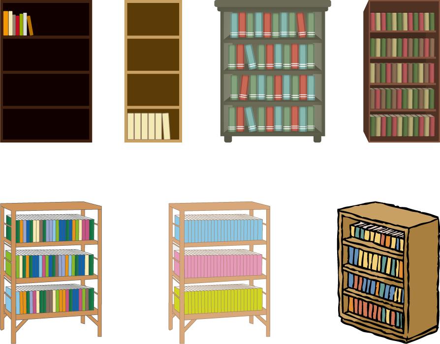 フリーイラスト 7種類の本棚のセット