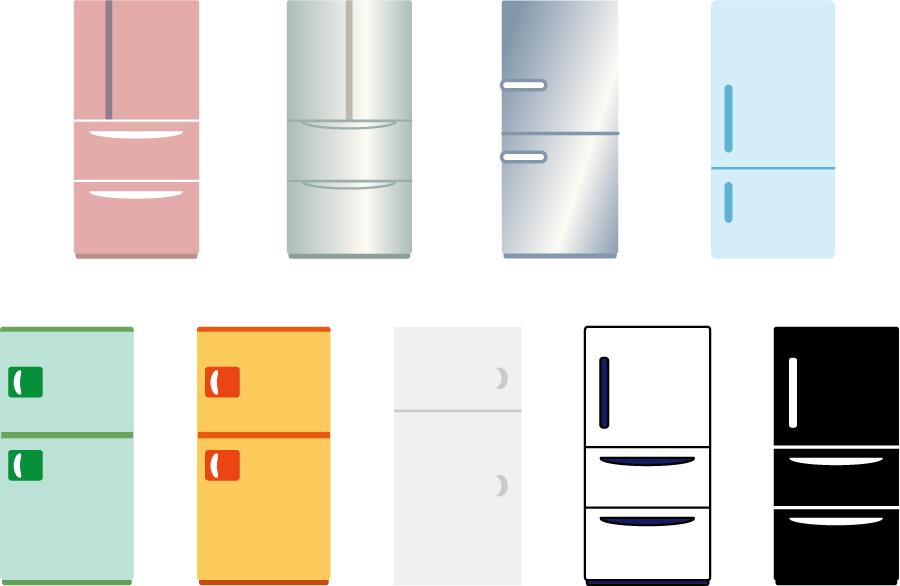 フリーイラスト 10種類の冷蔵庫のセット
