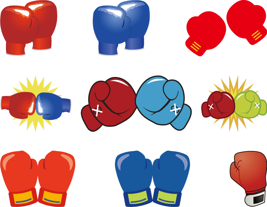 フリーイラスト 9種類のボクシンググローブのセット