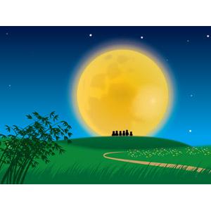 フリーイラスト, ベクター画像, AI, 風景, 年中行事, お月見(観月), 十五夜(中秋の名月), 月, 満月, 夜, 草原, 丘, シルエット(人物), 夜空