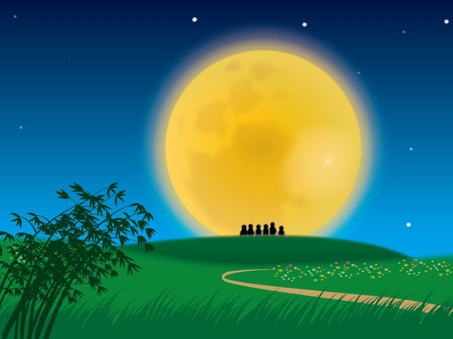 フリーイラスト 満月を眺める人々の風景