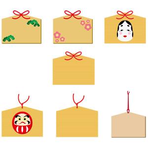フリーイラスト, ベクター画像, AI, 絵馬, 日本神道, お願い, 松(マツ), 梅(ウメ), おかめ(お多福), だるま(ダルマ)