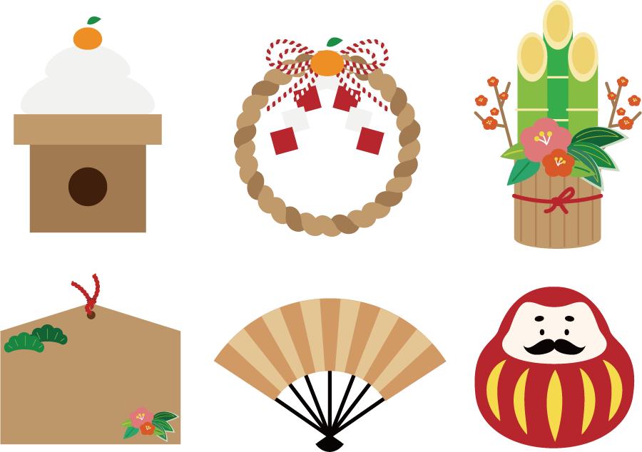 フリーイラスト 鏡餅などの6種類のお正月のセット