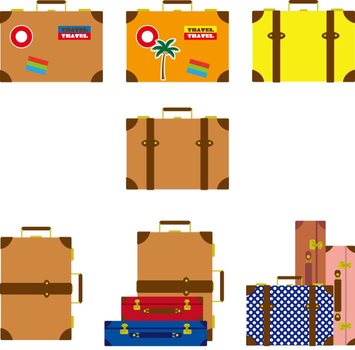 フリーイラスト 7種類のトランクケースのセット