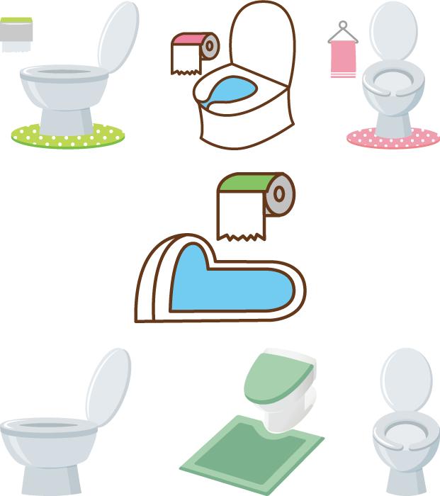 フリーイラスト 7種類のトイレの便器のセット