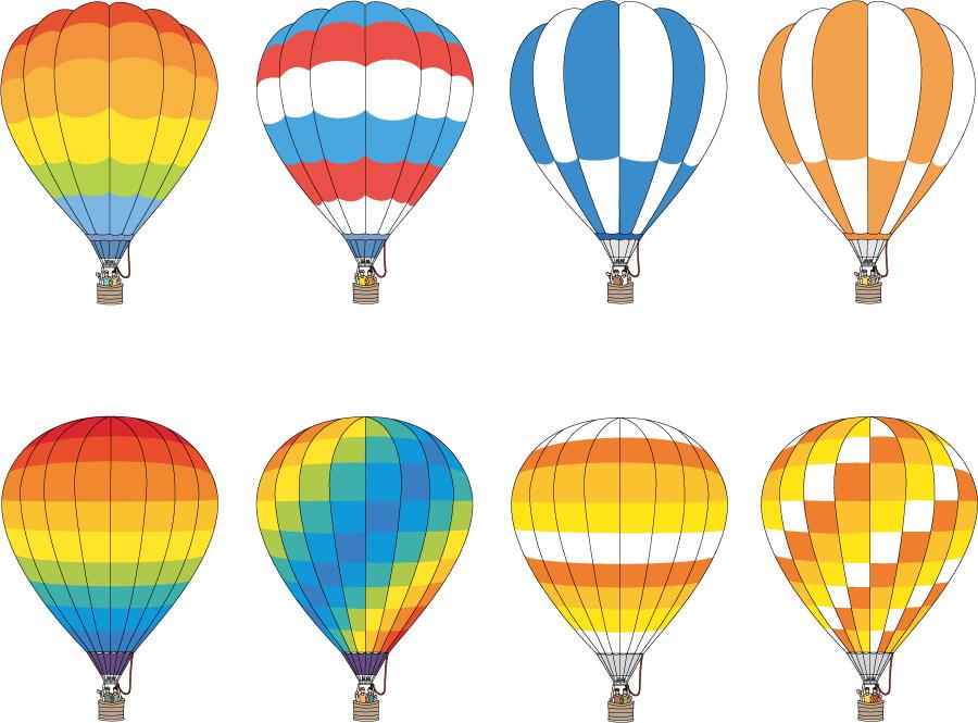 フリーイラスト 8種類の熱気球のセット