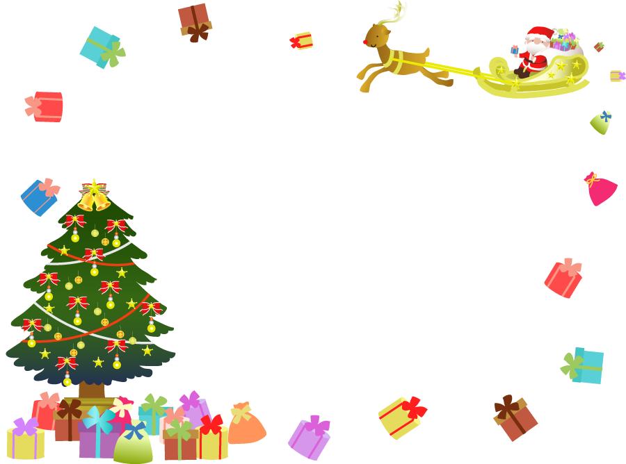 フリーイラスト サンタとトナカイとツリーとプレゼントのクリスマスフレーム