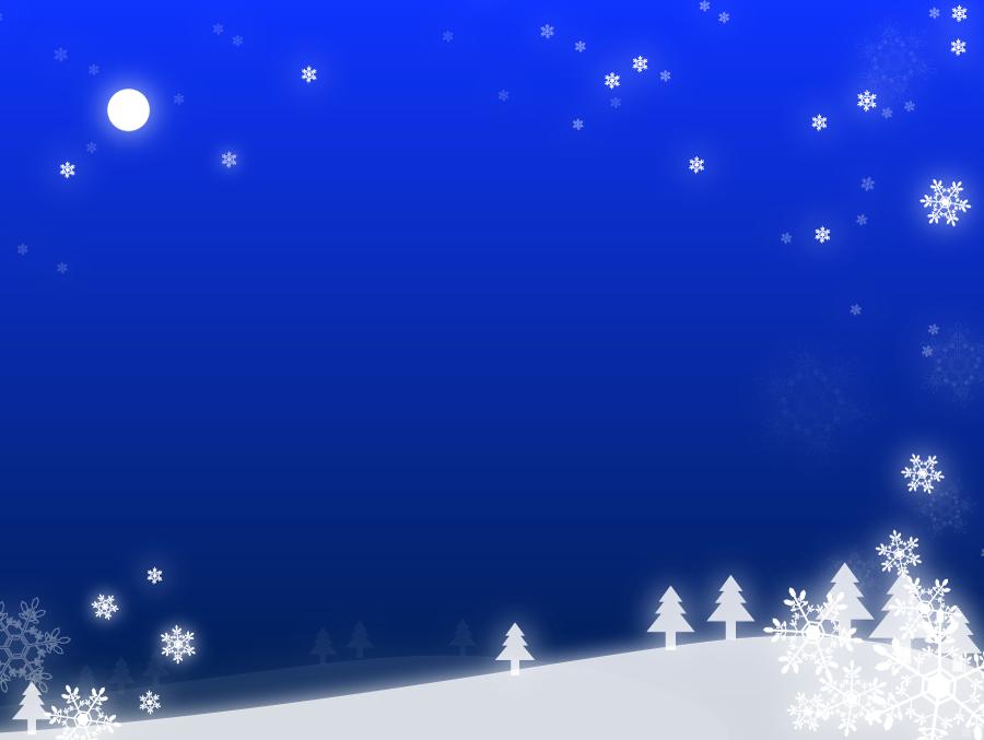 フリーイラスト 雪が降る夜の丘の風景