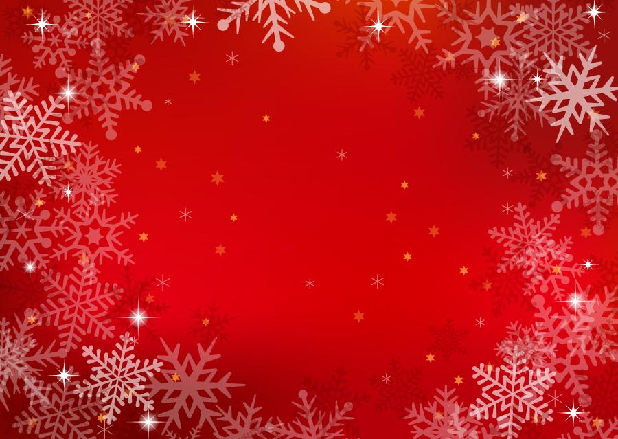 フリーイラスト 雪の結晶と赤色の背景の飾り枠