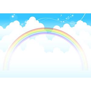 フリーイラスト, ベクター画像, AI, 背景, 空, 雲, 積乱雲(入道雲), 虹, 夏