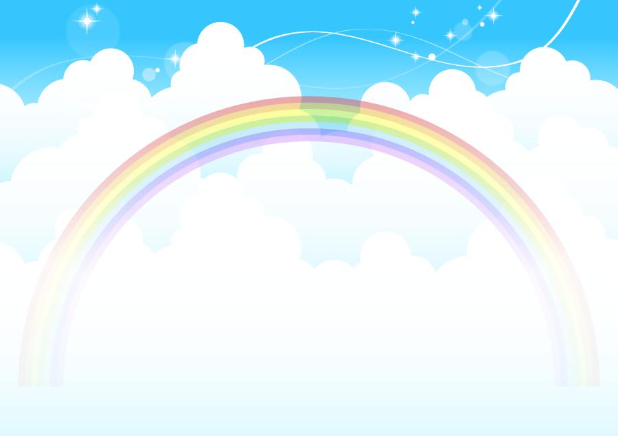フリーイラスト 雲と虹のかかる空の背景
