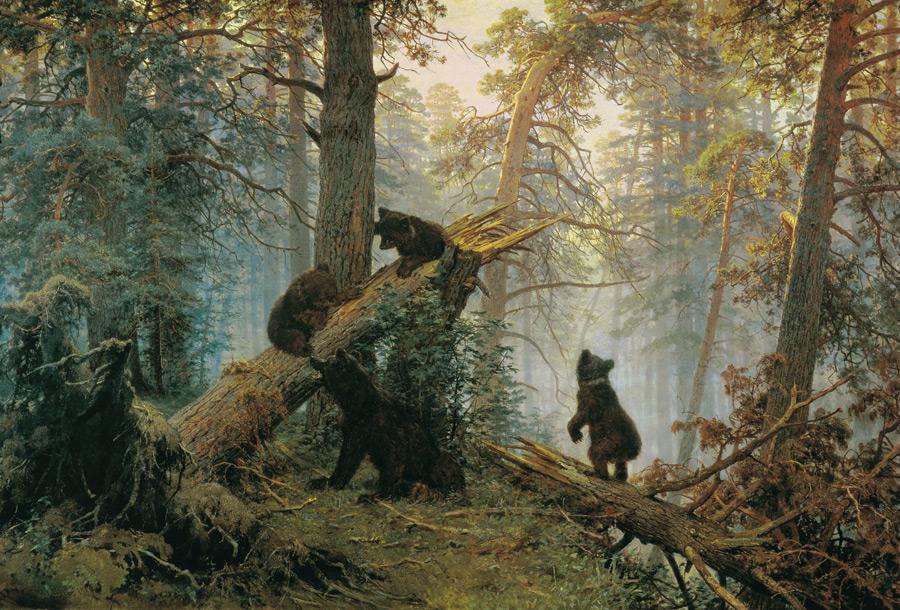 フリー絵画 イヴァン・シーシキン&コンスタンティン・サヴィツキー作「松林の朝」