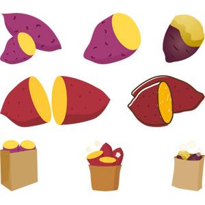 フリーイラスト, ベクター画像, AI, 食べ物(食料), 野菜, さつまいも, 焼き芋(やきいも), 秋, 冬, 料理, 芋料理
