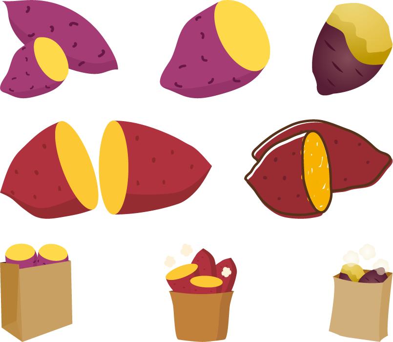 フリーイラスト 8種類の焼き芋のセット