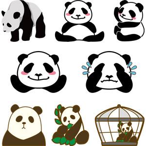 フリーイラスト, ベクター画像, AI, 動物, 哺乳類, ジャイアントパンダ, 泣く(動物), 食べる(動物)