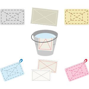 フリーイラスト, ベクター画像, AI, 掃除(清掃), 掃除用具, 雑巾(ぞうきん), バケツ