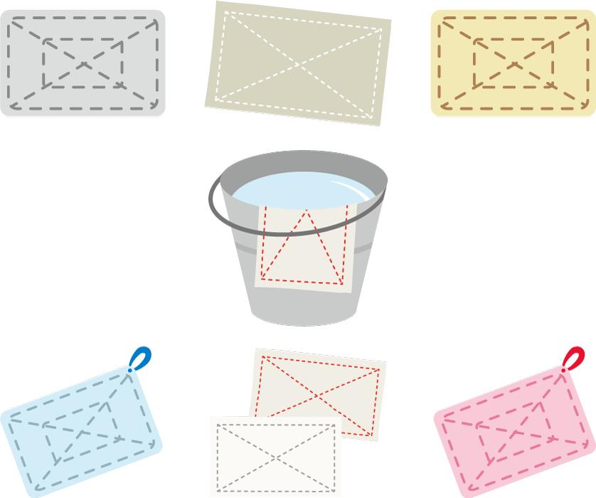 フリーイラスト 7種類の雑巾のセット