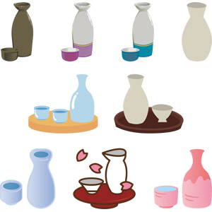 フリーイラスト, ベクター画像, AI, 食器, 徳利(とっくり), お猪口(おちょこ), 飲み物(飲料), お酒, 日本酒, 燗酒(熱燗)