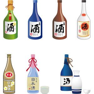 フリーイラスト, ベクター画像, AI, 飲み物(飲料), お酒, 日本酒, 一升瓶, 瓶(ボトル)