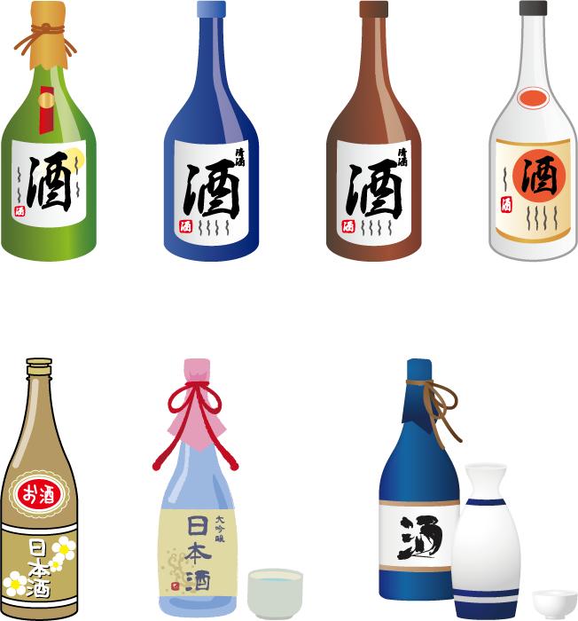 フリーイラスト 7種類の日本酒のセット