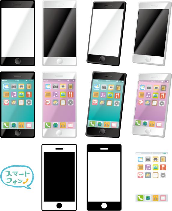 フリーイラスト 11種類のスマートフォンと画面のセット
