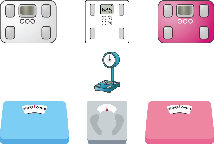 フリーイラスト 7種類の体重計のセット