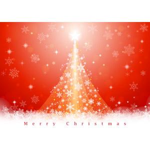 フリーイラスト, ベクター画像, AI, 背景, 年中行事, クリスマス, 12月, 冬, クリスマスツリー, 雪, 雪の結晶, メリークリスマス, 星(スター), 赤色(レッド)